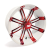14x7 Red / White SS Tempest Wheel (3:4 Offset)