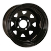 12x7 Spoked Black Wheel W/ Stem (2:5 Offset)