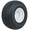 8 Inch GTW Topspin Tire & White Steel Wheel Assembly