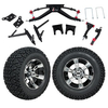 GTW 6 Lift w/12 Yellow Jacket Machined/Black Wheel & Recon A/T Tire For Club Car DS (2004.5-Up)