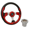 Club Car Precedent Red Rally Steering Wheel Chrome Adapter Kit (Fits 2004-Up)
