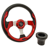 Club Car DS Red Rally Steering Wheel Black Adapter Kit (Fits 1982-Up)
