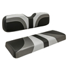Red Dot® Blade Front Seat Covers for E-Z-GO TXT/T48/RXV - Gray/Charcoal Gear/Black Carbon Fiber