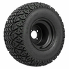 Set of (4) 10 inch Black Steel Wheels Mounted on GTW A/T Tires