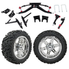 "GTW 6"" Lift w/14"" Dominator Chrome Wheel & Barrage Mud Tire For Club Car DS (2004.5-Up)"